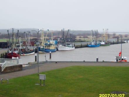 Das Hafenbecken in der Eider vor der Schleuse! - Eider-Sperrwerk