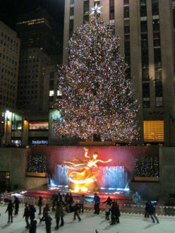 Rockefeller Center, Ice Rink - Weihnachtsbaum am Rockefeller Center