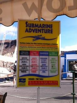 Preisliste Yellow Sub - U-Boot Tour Yellow Submarine Puerto de Mogán