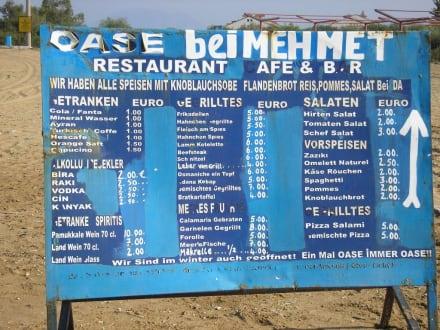 Preistafel am Strand - Restaurant Mehmet Oase