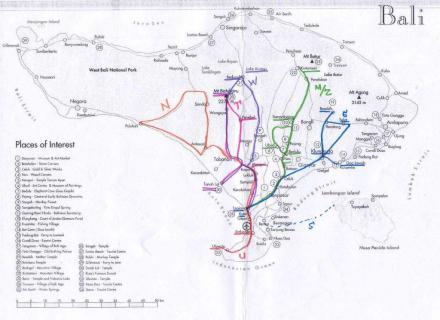 Übersichtskarte Touren GoVacation - Sightseeing Legian