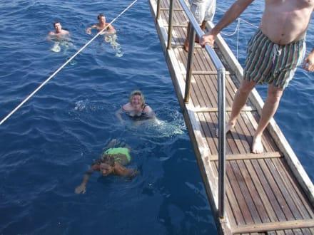 Badepause weit draussen im tiefen Meer - Bootstour Baba Side