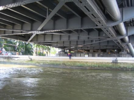 Eine Rast unter dem Schutz der Brücke. - Chao Phraya River