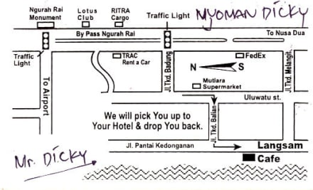 Visitenkarte mit Lagebeschreibung - Langsam's Jimbaran Beach Club