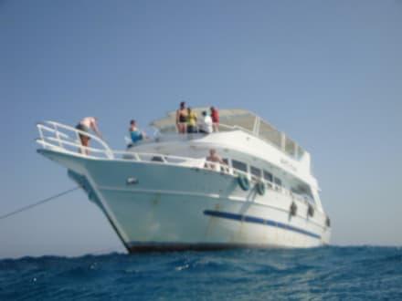 Unser Schiff aus dem Wasser fotografiert - Ausflug mit Mohamed