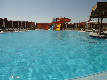 Pool with water slides -
