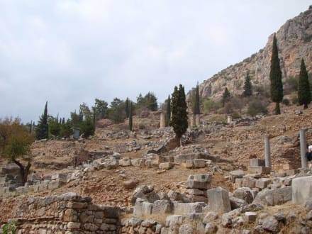 Blick auf das antike Delphi - Tempelanlage des Orakels von Delphi
