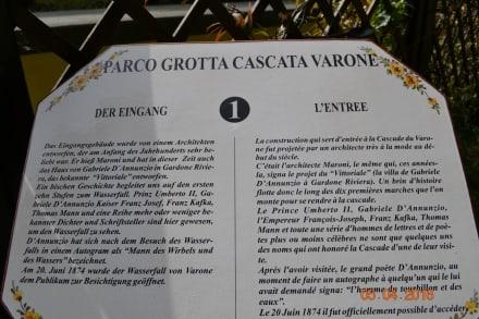 Beschreibung des Wasserfalls - Grotta Cascata Varone