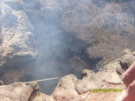 trockenes Gras in einem Erdloch - Nationalpark Timanfaya (Feuerberge)