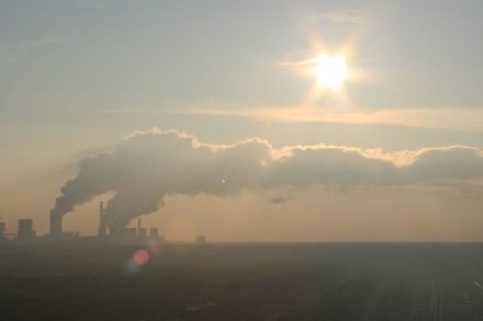 Blick zum Kraftwerk Boxberg - Aussichtsturm am schweren Berg