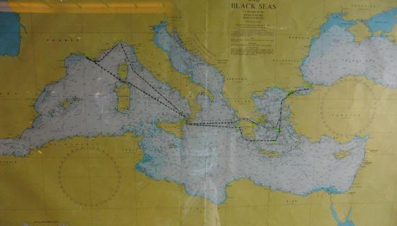 Karte der Route die die Coral fährt