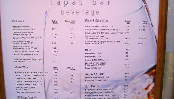 Preise der Tapas-Bar\